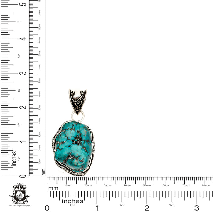 Turquoise Nugget Pendant 4mm Snake Chain V1489