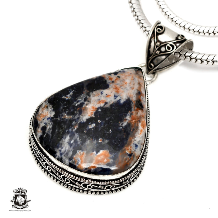 Orange Sodalite Pendant 4mm Snake Chain V1536