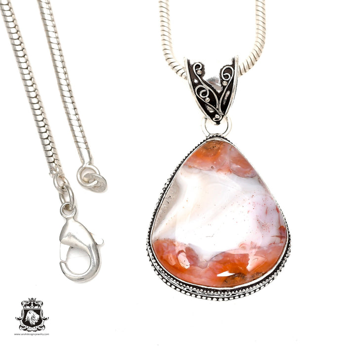 Crazy Lace Agate Pendant 4mm Snake Chain V1601