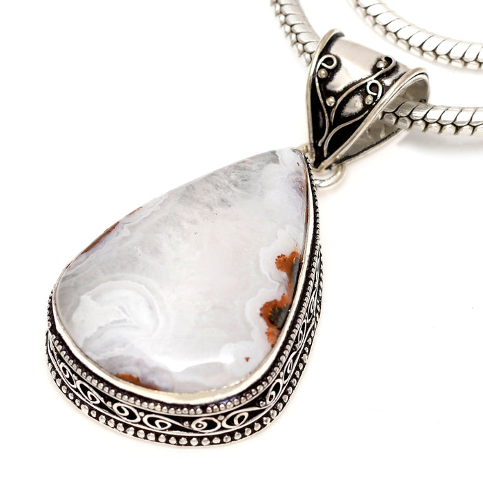 Crazy Lace Agate Pendant 4mm Snake Chain V1605