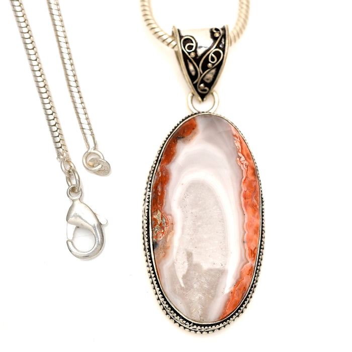 Crazy Lace Agate Pendant 4mm Snake Chain V1606