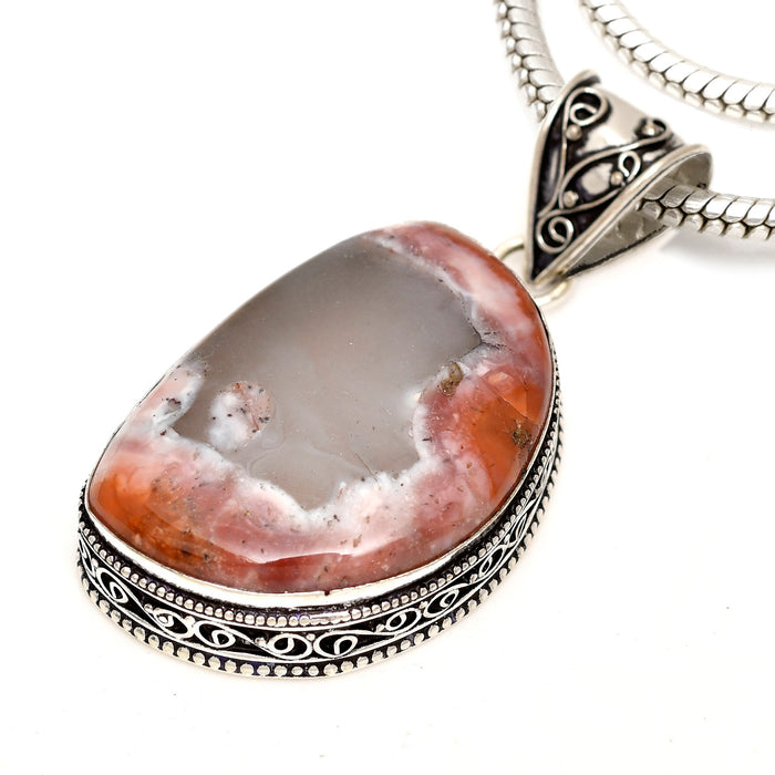 Crazy Lace Agate Pendant 4mm Snake Chain V1607