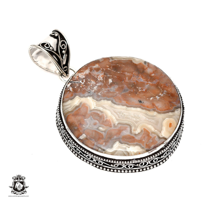 Crazy Lace Agate Pendant 4mm Snake Chain V1620