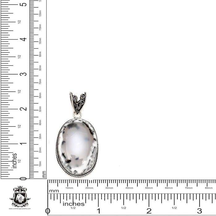 Merlinite Dendritic Opal Pendant 4mm Snake Chain V1629