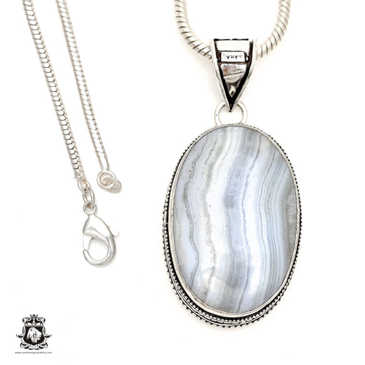 Blue Lace Agate Pendant 4mm Snake Chain V1727