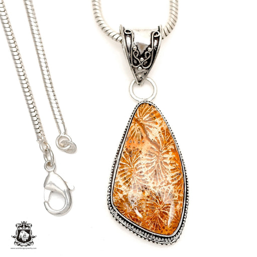 Fossilized Bali Coral Pendant 4mm Snake Chain V1755