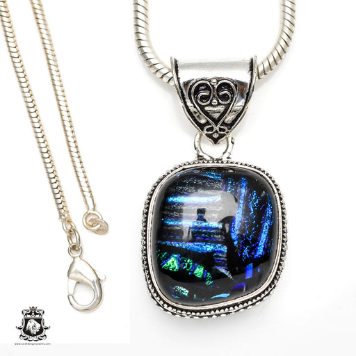 Dichroic Glass Murano Glass Vintage Silver Pendant 4mm Snake Chain V301