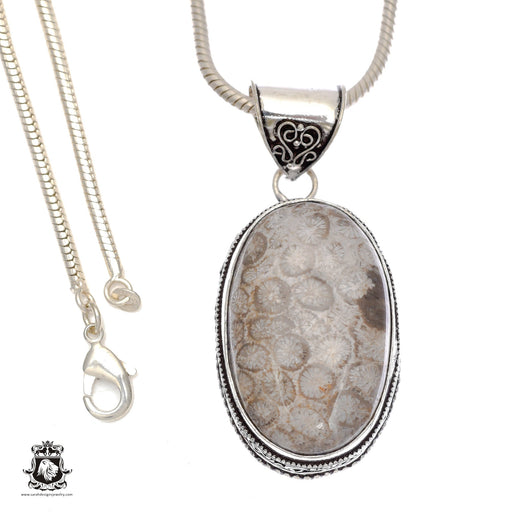 Fossilized Bali Coral Pendant 4mm Snake Chain V745