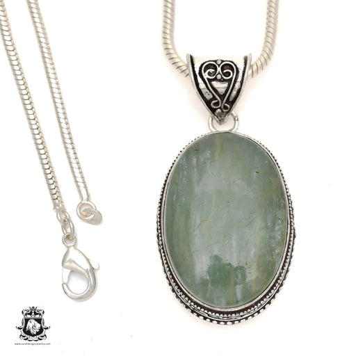 Brazilian Aquamarine Pendant 4mm Snake Chain V823