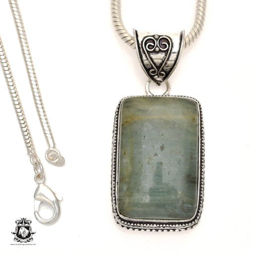 Brazilian Aquamarine Pendant 4mm Snake Chain V829