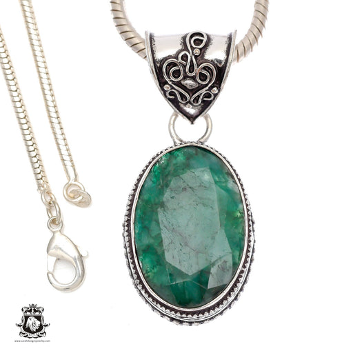 Emerald Pendant 4mm Snake Chain V921