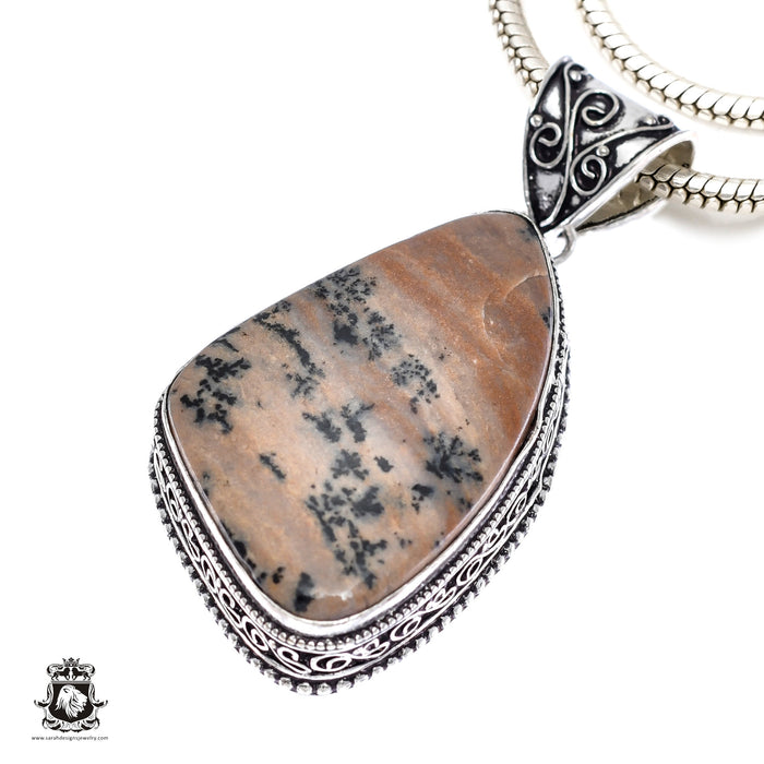 German Fossilized Dendrite Agate Pendant 4mm Snake Chain V380