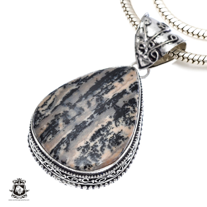 German Fossilized Dendrite Agate Pendant 4mm Chain V382