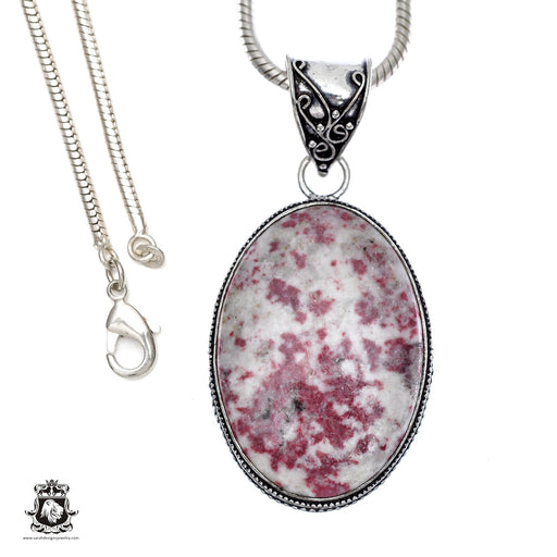Pink Tourmaline Matrix Quartz Pendant 4mm Snake Chain V399