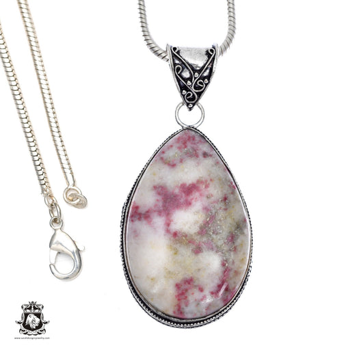 Pink Tourmaline Matrix Quartz Pendant 4mm Snake Chain V403