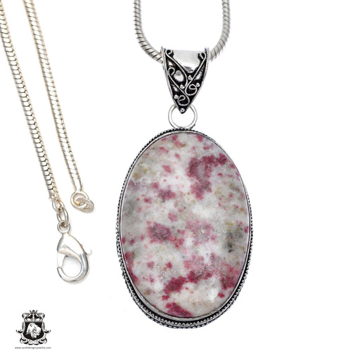 Pink Tourmaline Matrix Quartz Pendant 4mm Snake Chain V404