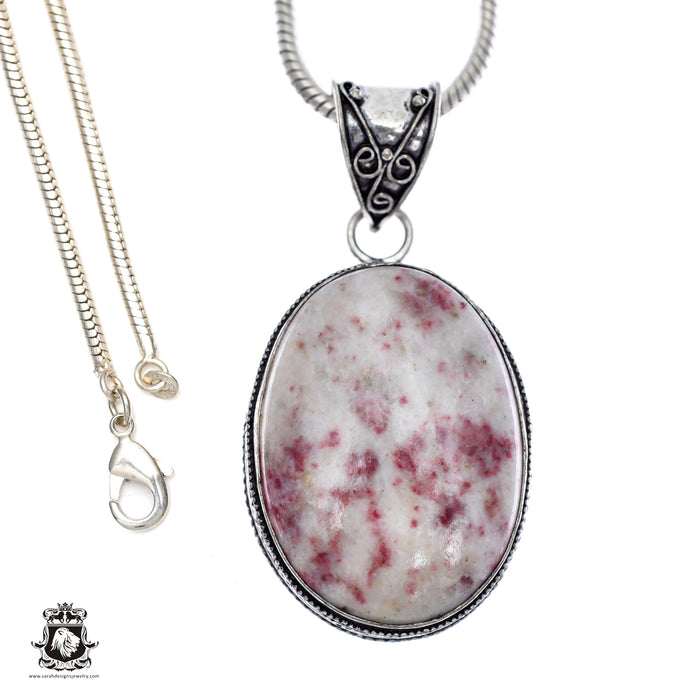 Pink Tourmaline Matrix Quartz Pendant 4mm Snake Chain V411