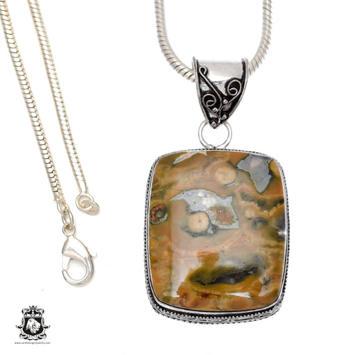 Rhyolite Rainforest Jasper Pendant 4mm Snake Chain V500