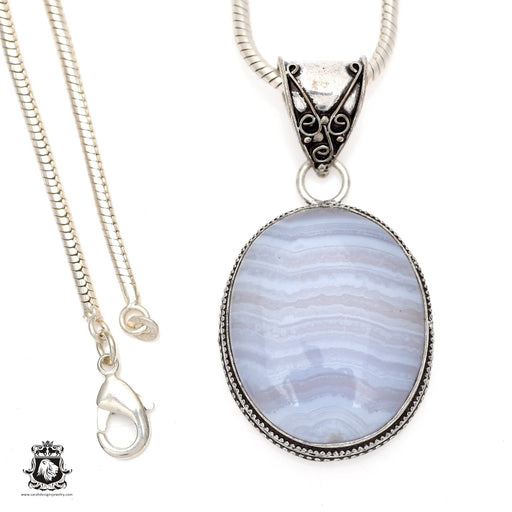 Blue Lace Agate Pendant 4mm Snake Chain V544