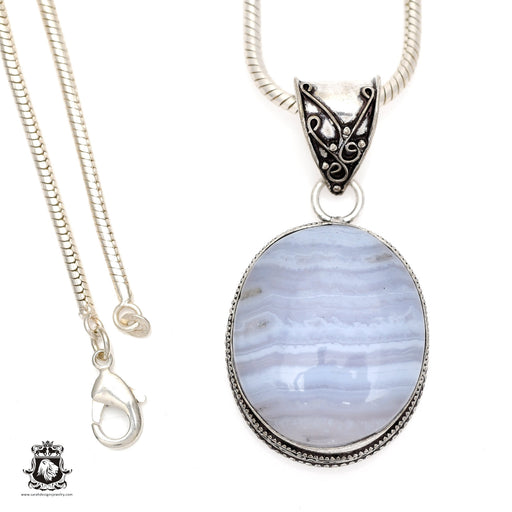 Blue Lace Agate Pendant 4mm Snake Chain V546