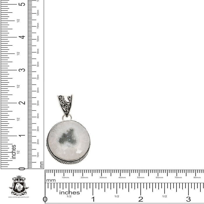 Solar Quartz Pendant 4mm Snake Chain V1305