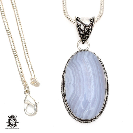 Blue Lace Agate Pendant 4mm Snake Chain V551