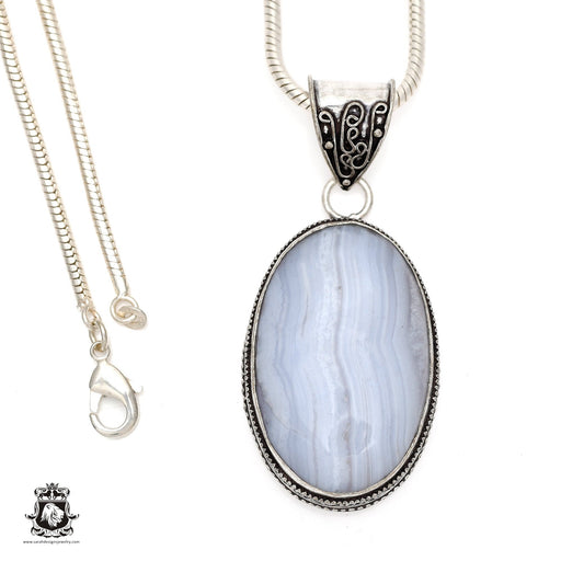 Blue Lace Agate Pendant 4mm Snake Chain V552