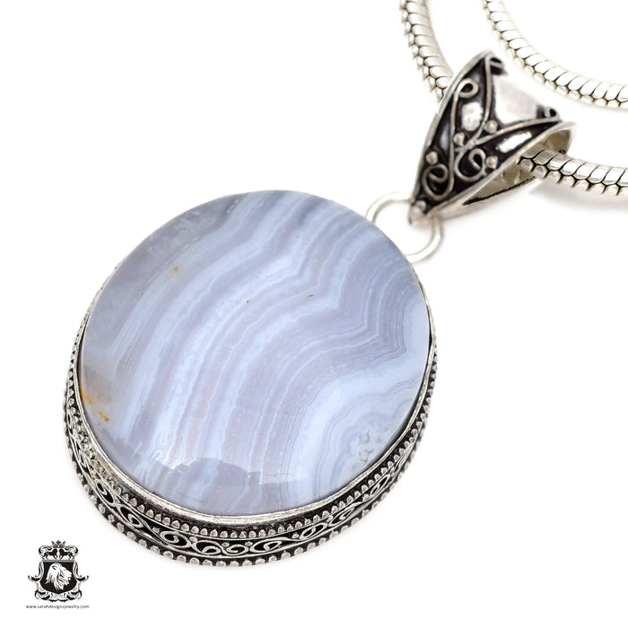 Blue Lace Agate Pendant 4mm Snake Chain V554
