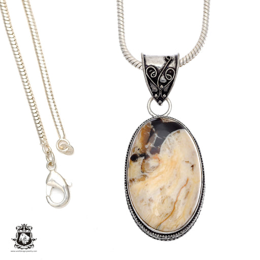 Petrified Peanut Wood Pendant 4mm Snake Chain V574
