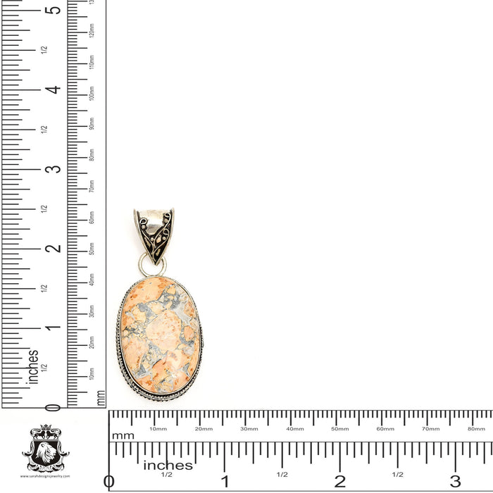 Merlinite Dendritic Opal Pendant 4mm Snake Chain V1325