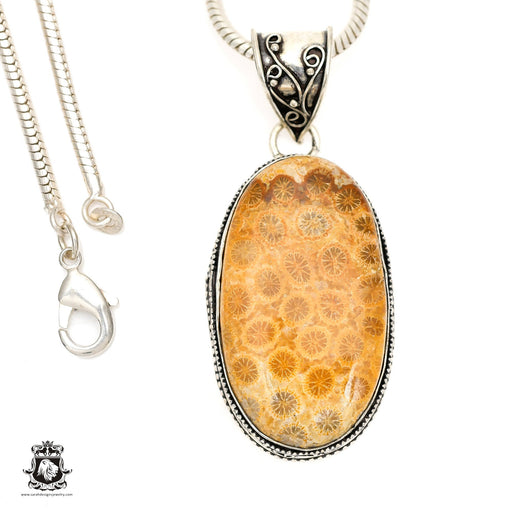 Fossilized Bali Coral Pendant 4mm Snake Chain V1391
