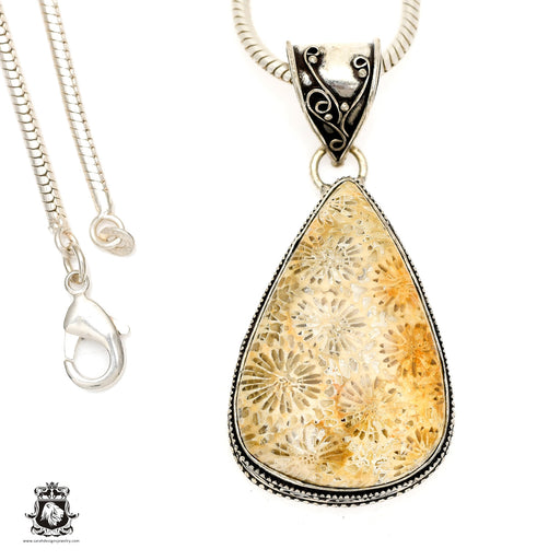Fossilized Bali Coral Pendant 4mm Snake Chain V1394