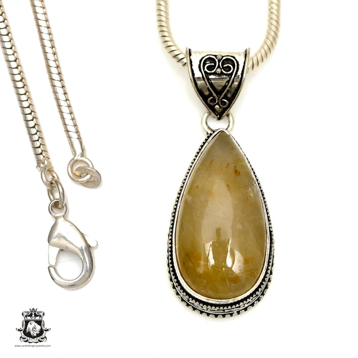 Rutile Rutilated Quartz Pendant 4mm Snake Chain V1164