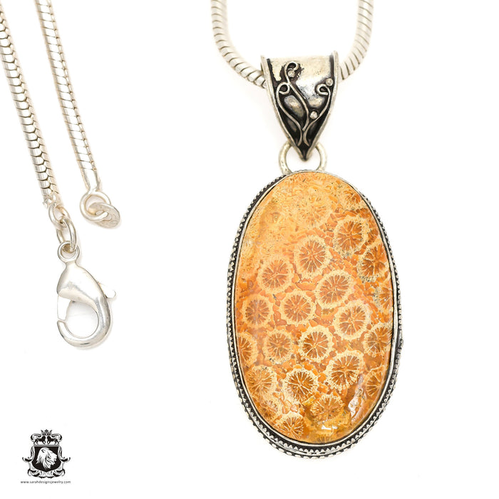 Fossilized Bali Coral Pendant 4mm Snake Chain V1395
