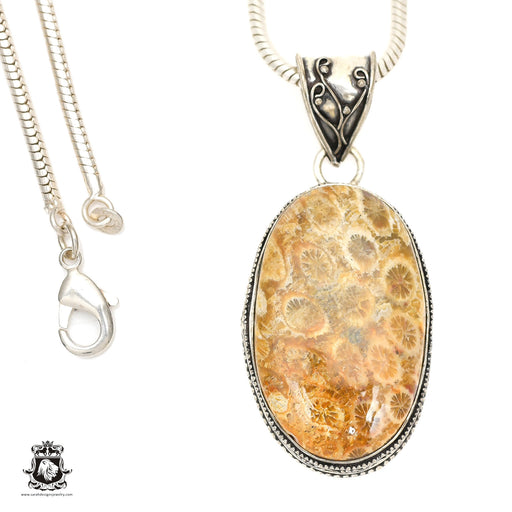 Fossilized Bali Coral Pendant 4mm Snake Chain V1396
