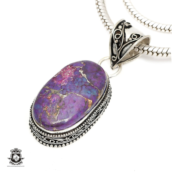 Purple Mohave Turquoise Pendant 4mm Snake Chain V1415