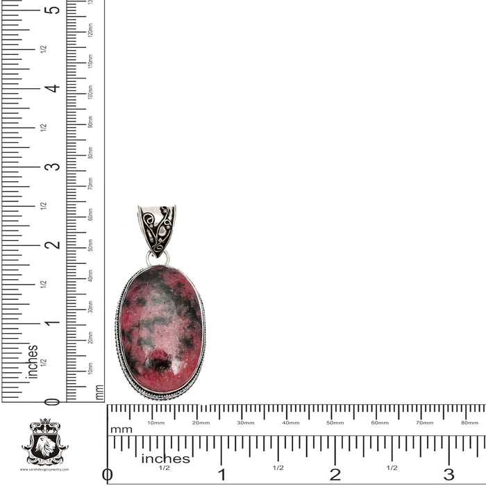 Rhodonite Pendant 4mm Snake Chain V1460