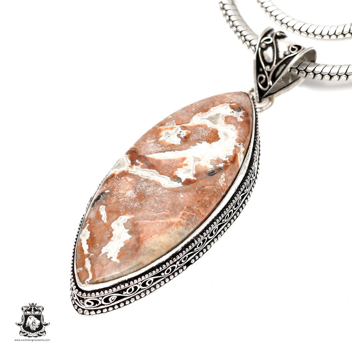 Crazy Lace Agate Pendant 4mm Snake Chain V1614