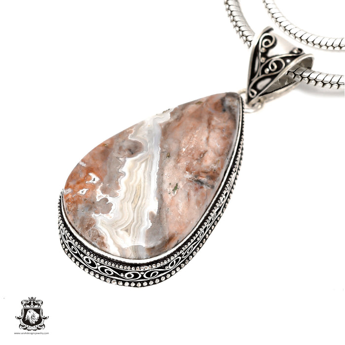 Crazy Lace Agate Pendant 4mm Snake Chain V1621