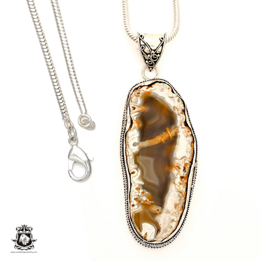 Czech Republic Petrified Wood Pendant 4mm Snake Chain V1772