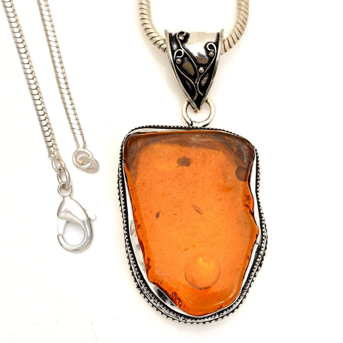 Baltic Amber Pendant 4mm Snake Chain V1834