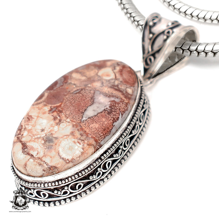 Bird's Eye Jasper Pendant 4mm Snake Chain V1860