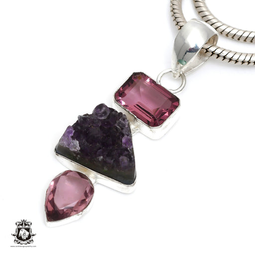 Rough Amethyst Pendant 4mm Snake Chain P6417