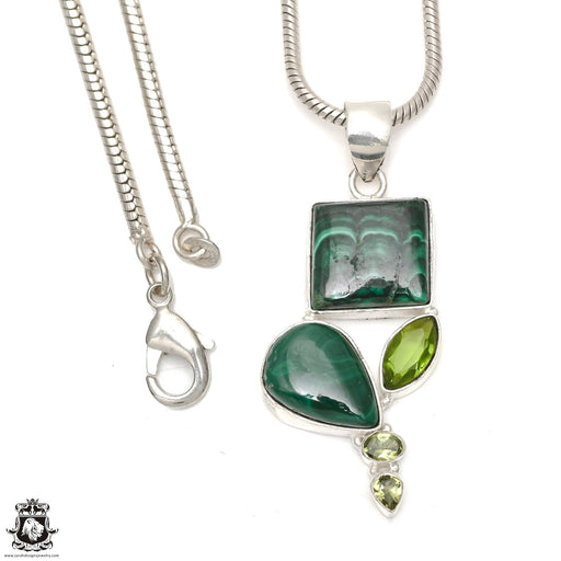 Malachite Peridot Pendant 4mm Snake Chain P6492
