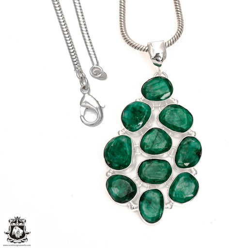 Emerald Pendant 4mm Snake Chain P6553