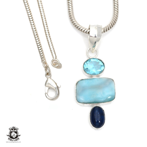 Larimar Kyanite Blue Topaz Pendant 4mm Snake Chain P6376