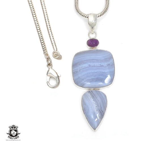 Blue Lace Agate Pendant 4mm Snake Chain P6384
