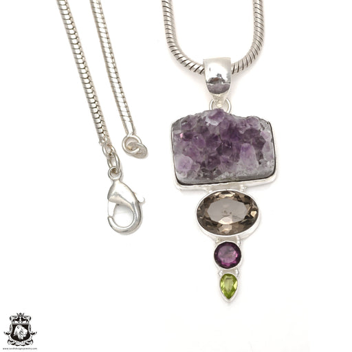 Rough Amethyst Pendant 4mm Snake Chain P6524