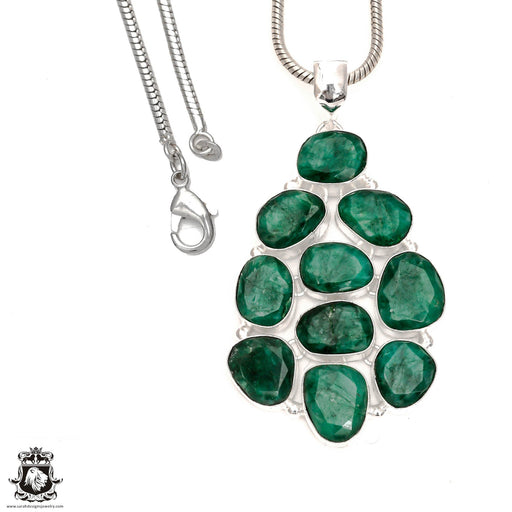 Emerald Pendant 4mm Snake Chain P6549