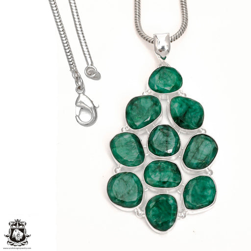 Emerald Pendant 4mm Snake Chain P6562